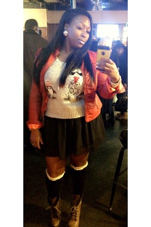tan sweater - red jacket - black Forever 21 socks - black skirt