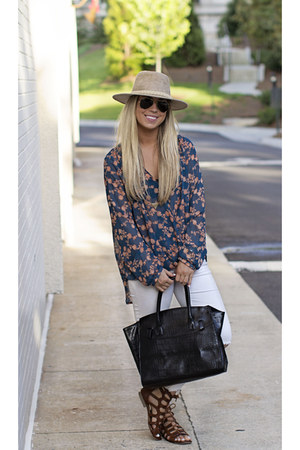 TJ Maxx blouse - free people jeans - Forever 21 hat - Target bag