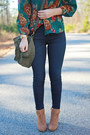 Booties-forever-21-shoes-blue-pacsun-jeans-brown-ray-ban-sunglasses