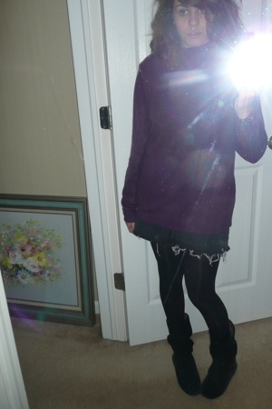 sweater - skirt - tights - boots