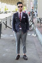 heather gray Brooks Brothers Black Fleece shoes - navy Thom Browne blazer