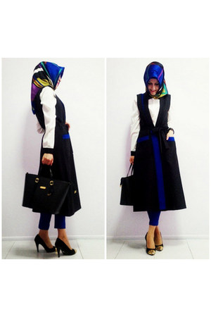 black bag - cream LC Waikiki shirt - blue silk Armine scarf