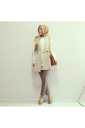 mustard scarf - white long lcwaikiki shirt - mustard Celine bag