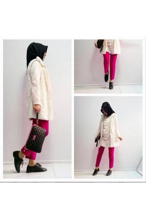 white faux fur vest - light pink long LC Waikiki shirt - black Sunway scarf