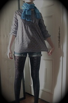 scarf - Zara blouse - shorts - H&M tights