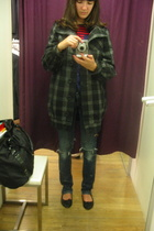 coat - H&M jeans - vintage t-shirt - H&M shoes - H&M purse