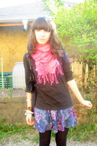t-shirt - scarf - H&M skirt - monoprix tights - bracelet - H&M purse