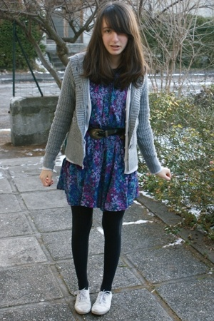 H&amp;M dress - H&amp;M jacket - vintage belt - monoprix tights - H&amp;M shoes