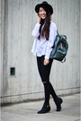 Steve-madden-boots-asos-jeans-white-polka-dot-monki-shirt-fjallraven-bag