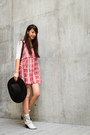 White-maje-boots-red-urban-outfitters-dress-black-floppy-wool-hat-h-m-hat