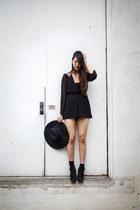 Steve Madden boots - black floppy wool hat H&M hat