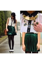 blouse Living Doll shirt - tights Urban Outfitters tights - satchel vintage bag