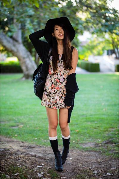 black floppy H&M hat - Jeffrey Campbell boots - floral a-line MinkPink dress