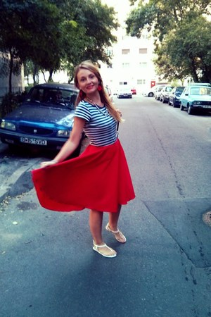 red handmade skirt - navy thrifted shirt - white sandals