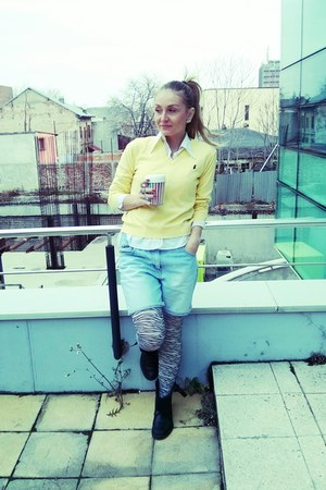 light yellow sweater - black biker boots - white shirt - zebra tights
