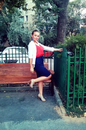 blue SIX earrings - white shirt - red blouse - navy skirt