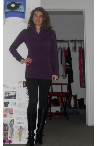 purple H&amp;M sweater - Kmart boots - black Forever 21 leggings - Forever 21 ring