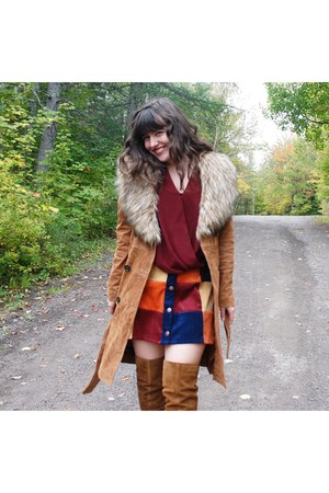 camel le chateau coat - camel asos boots - brick red top Marshalls top