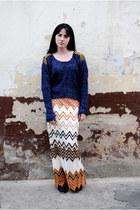 tawny skirt - navy blouse