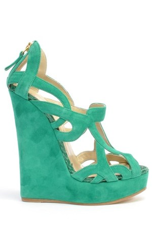 aquamarine cutout suede Sophie Gittins wedges