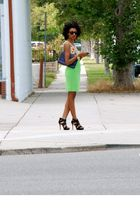 green Chanel skirt - Forever 21 top - black Nine West shoes - vintage accessorie