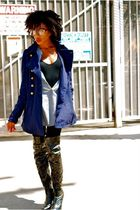 blue Zara top - black Jeffrey Campbell boots