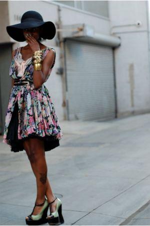H&M hat - asos shoes - vintage dress - Forever 21 accessories