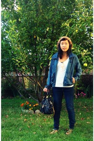 white Vanity shirt - blue Kmart jacket - blue Macys jeans - beige Target shoes -