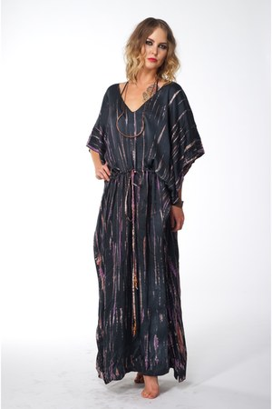 copper unknown necklace - maxi silk Lotta dress