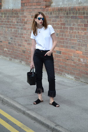 black River Island jeans - white Topshop t-shirt - black Office sandals