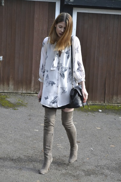 Topshop dress - Matalan boots - Topshop bag