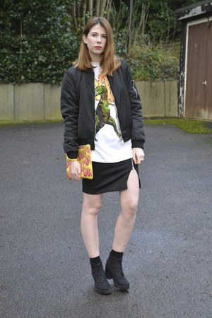 Topshop t-shirt - Primark boots - Zara jacket - Missguided skirt