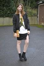 Topshop t-shirt - Primark boots - Zara jacket - Missguided skirt