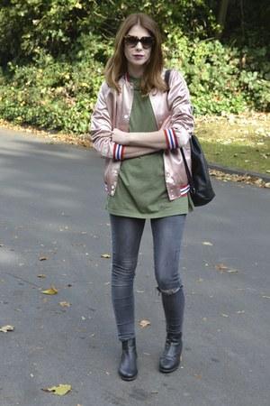 Topshop boots - Topshop jeans - Topshop jacket - Primark bag - Prada sunglasses
