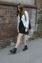 Zara jacket - Topshop boots - Arkcouk dress