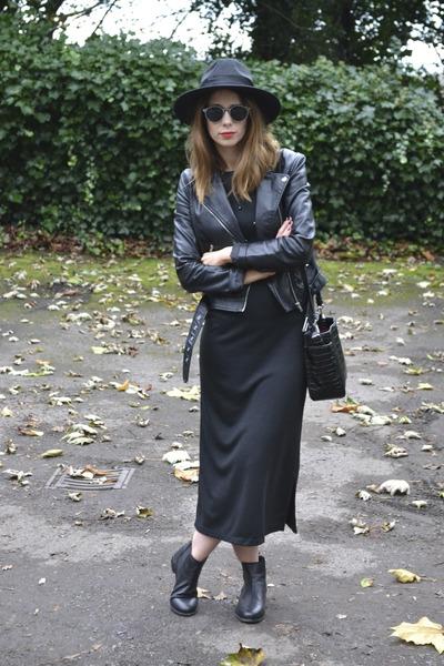 Topshop boots - Topshop dress - Topshop hat - H&M jacket - Zara bag