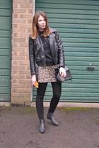 Topshop boots - H&M jacket - Topshop bag - River Island skirt - whistles jumper
