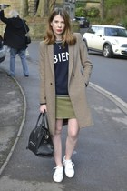 Zara coat - Missguided skirt - acne sneakers - asos jumper