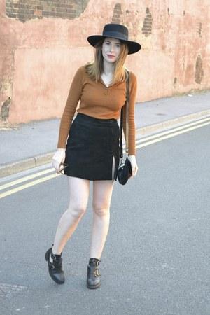 Topshop boots - asos hat - vintage skirt - Primark top
