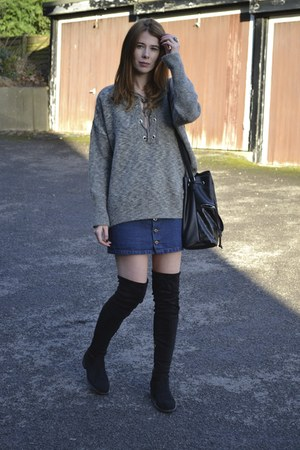 ark skirt - Public desire boots - Primark jumper