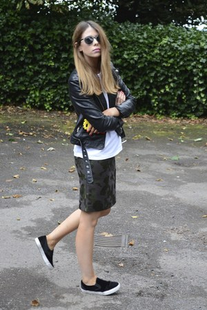 new look shoes - H&M jacket - Primark t-shirt - Topshop skirt
