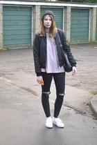 Zara jacket - Topshop jeans - Primark bag - acne sneakers - Zara t-shirt