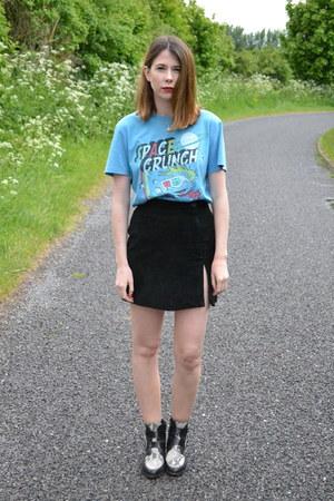 vintage skirt - Topshop boots - vintage t-shirt