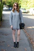 Topshop boots - Zara bag - Prada sunglasses - Topshop skirt - H&M jumper