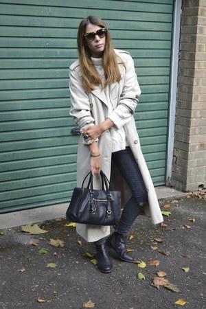 Topshop boots - vintage coat - Topshop jeans - Zara bag - H&M jumper