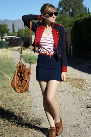 red vintage belt - brown f21 shoes - blue cropped f21 jacket - brown f21 bag