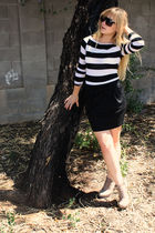black f21 skirt - white f21 shirt - brown asos shoes