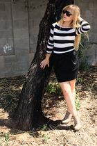 black f21 skirt - white f21 shirt - brown asos shoes