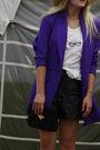 Pink-ebay-blazer-brown-zara-shoes-black-vintage-shorts-black-vintage-purse