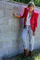 gray f21 - pink Ebay blazer - brown - gold accessories